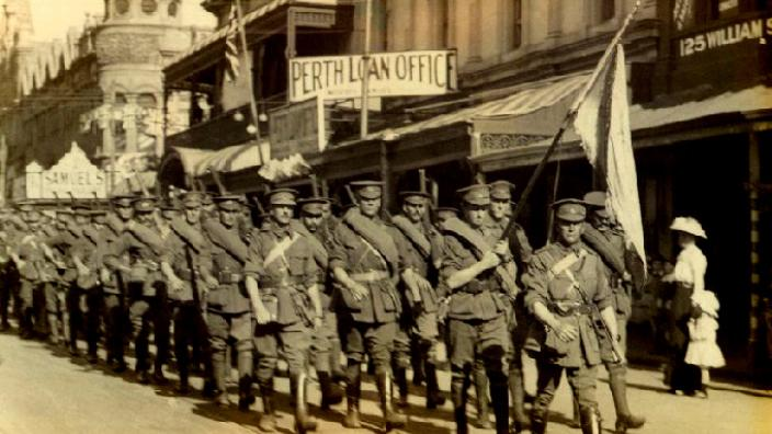 Tunnellers Marching through the streets of Perth