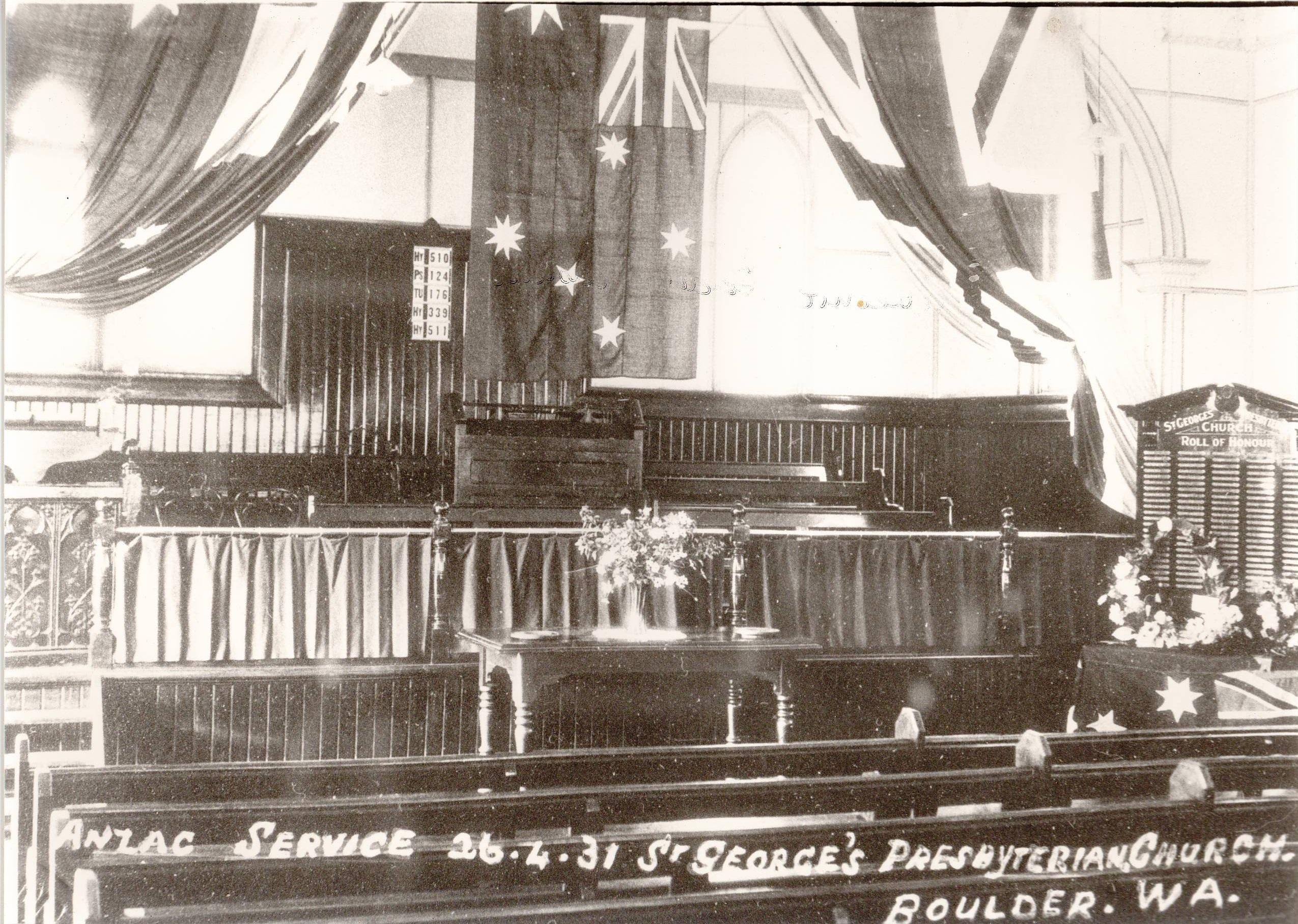 St George's Church Boulder Anzac Service 1931