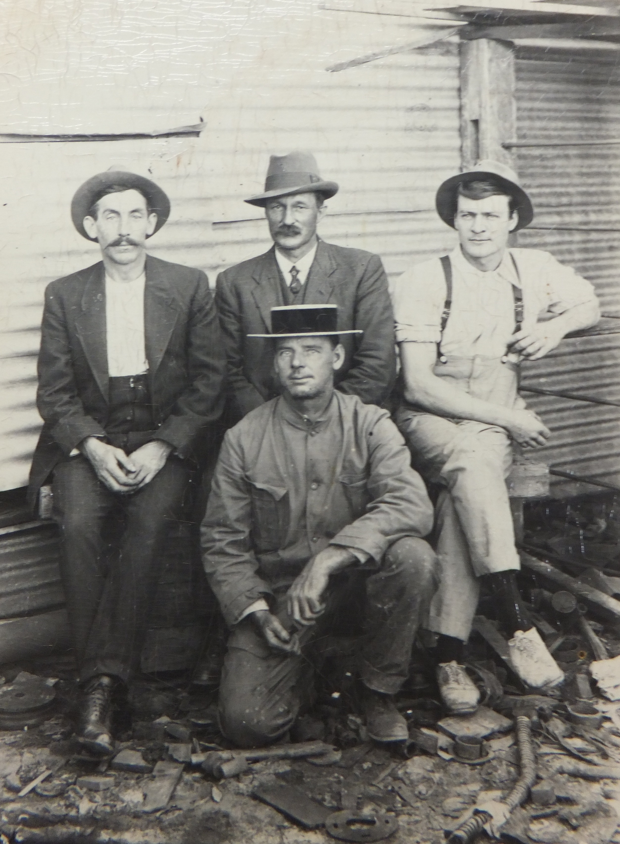 Back Row From left- Mick OBrien, Inspector Crabb, Frank Mazza, in front T Williams manager of the Marvel Loch Mine.