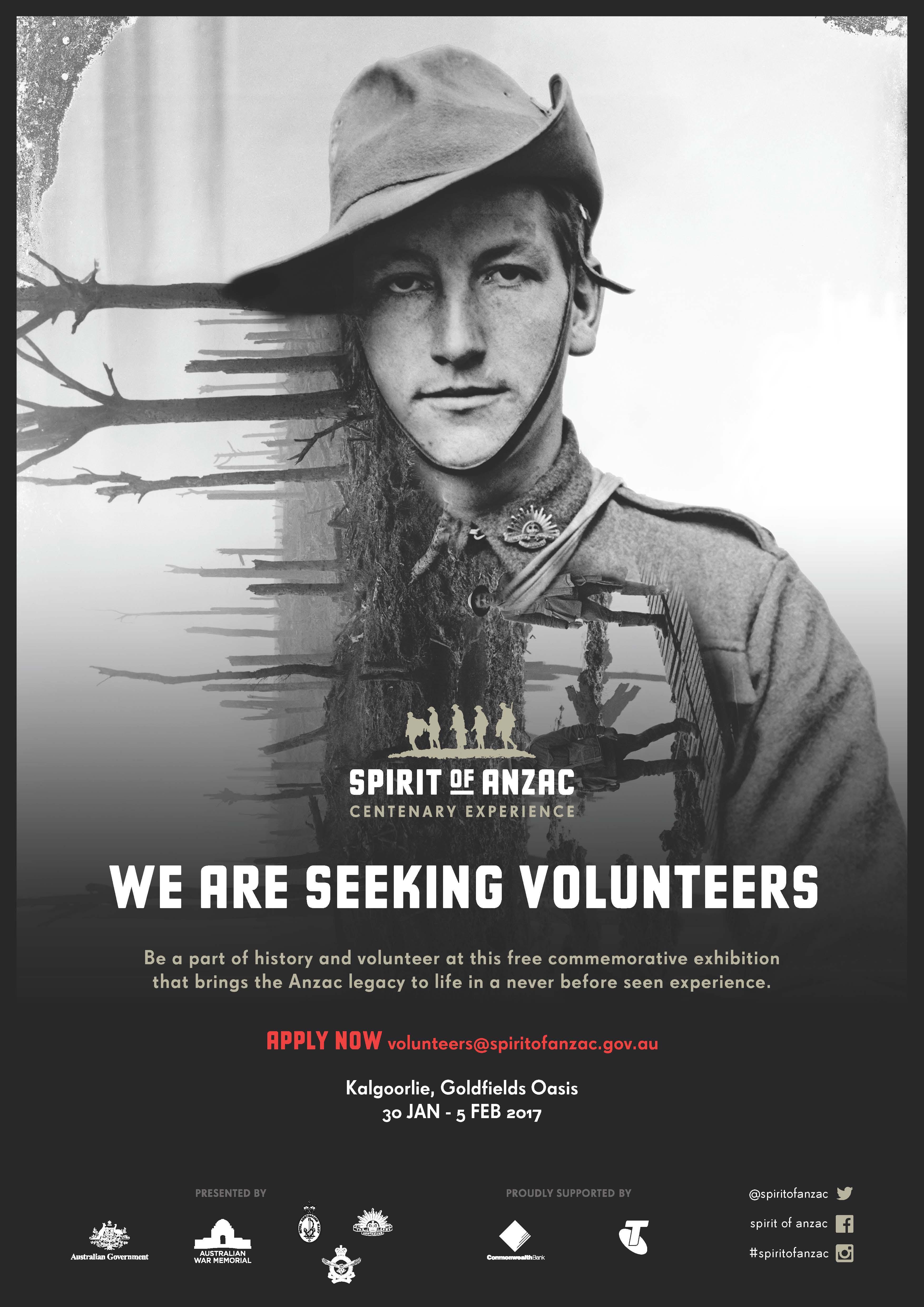 Spirit of Anzac – volunteers needed