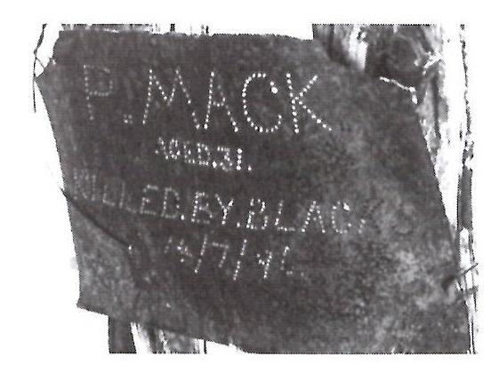 Phil Mack's Grave marker at Deadman's Soak Photo by Geoff Smith
