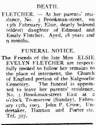 Miss Elsie Fletcher - grave tales ~ Outback Family History