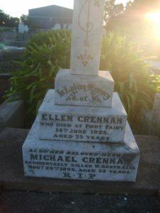 Grave of Ellen Crennan in the Port Fairy Cemetery VIC
